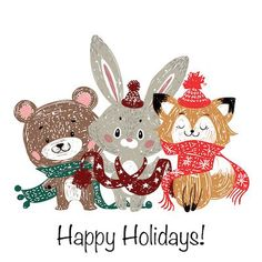 Printable Christmas Cards - Happy Holidays Woodland Animals Happy Holidays Greetings, Merry Christmas Happy Holidays, Merry Christmas Greetings, Holiday Greeting Cards, Winter Holidays, Holiday Ecards, Free Printable Christmas Cards, Student Christmas Gifts, Holiday Gif