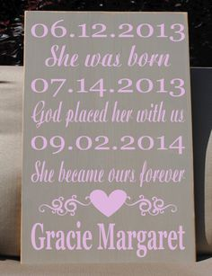 Adoption date sign personalized adoption gift carved engraved wall personalized babychild adoption wooden vinyl by hdvinyldesigns negle Choice Image