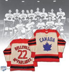 World Champion - Belleville McFarlands 1959 Team Canada Game-Worn Jersey. Run 3, What Is Hot, Hockey Teams, Champion, Canada, Money, Game, Sports, Vintage