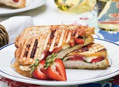 E-Z  STRAWBERRY-TURKEY-BRIE PANINI - Brie and strawberries? Yum!  Add turkey, fresh basil leaves and red pepper jelly - WAY over the top delish!