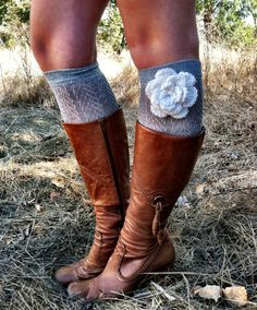 NEWWWW  Grey Lacy Boot Socks with Ivory White Knitted by ThreeBirdNest, $36.00