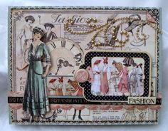 LOVE THE USE OF THE PEARLS ON THIS LAYOUT.  1 Nicole Eccles- July CHA Graphic 45 Ladies Diary- Card