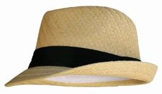 Amazon.com: Natural Tan Straw Fedora Hat with Black Band: Clothing