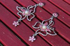 """Pink Crystal Rhinestone Silver Butterfly Flower Post Dangle Earrings 3.75"""""""