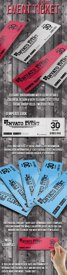 Elegant event ticket 02 by Tzochko on Creative Market Wedding - event tickets template