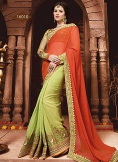 Rust And Lemon Green Pure Georgette Half N Half Saree http://www.angelnx.com/Sarees/Party-Wear-Sarees