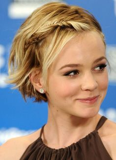Braids for short hair - Hair Romance - Short Hair Don't Care - Carey Mulligan. Braid for short hair = adorable. Twist strands of hair if your cut is too short to - Chic Short Hair, Braids For Short Hair, Girl Short Hair, Short Blonde, Bob Braids, Trendy Hair, Feminine Short Hair, Curly Blonde, Pretty Hairstyles