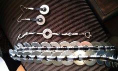 Washer belt, bracelet and earrings.