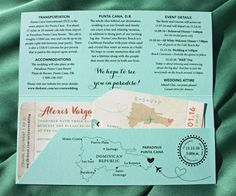 Mint Green & Orange Beach Sunset, Palm Trees & Airplane Heart Vintage Boarding Pass Wedding Invitations