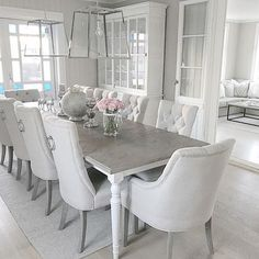 White dining room furniture view in gallery white dining room table Grey Dining Room Chairs, Dining Room Table Decor, Luxury Dining Room, Dining Room Sets, Dining Room Design, Dining Room Furniture, Kitchen Dining, Room Kitchen, Dinning Room Ideas
