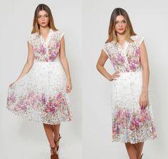 Vintage 70s FLORAL Midi Dress White GRADIENT Floral Print Dress by LotusvintageNY