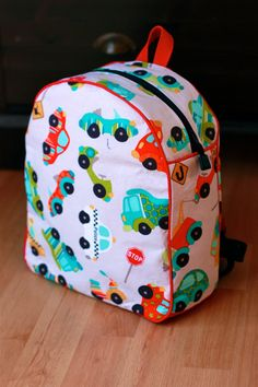 Riley Blake Cars TODDLER Backpack - FULLY LINED #rileyblakedesigns #peakhour #transportationfabric