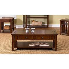 The rich cherry finish of the Prairie Hills Rectangular Coffee Table with Drawers – Satin Cherry adds a feeling of warmth to any space. Coffee Table With Drawers, Solid Wood Coffee Table, Coffee Tables, Center Table Living Room, Living Area, Central Table, Liberty Furniture, Small Cabinet, Front Rooms