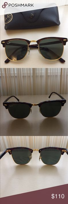 Ray-ban Tortoise Clubmaster Sunglasses RB3016 W0366 49-21 Green Classic G-15 Sunglasses. In great condition. No scratches! Ray-Ban Accessories Sunglasses