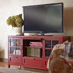 Red tv console light colored stands colorful stands media console pottery barn love this distressed red Tv Decor, Tv, Tv Furniture, Red Decor, Pottery Barn, Modern Outdoor Furniture, Entertaining House, Red Tv Stand, Tv Stand