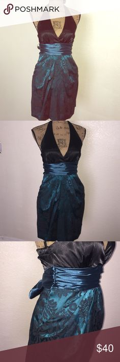 Cocktail Dress Holiday Black silk teal flowers print backless strap wore it once perfect this Holidays one of my favorite has two pockets in front Speechless Dresses Backless