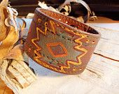 Bohemian Tribal Leather Hand Painted Cuff Snap Bracelet Boho Hippie Tribal Bangle Brown Patterened