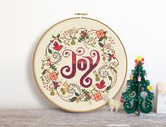 Christmas Joy - Cross Stitch Pattern (Digital Format - PDF) by Stitchrovia on Etsy Butterfly Cross Stitch, Cross Stitch Heart, Christmas Love, Christmas Cross, Cross Stitch Designs, Cross Stitch Patterns, Stitching Patterns, Cross Stitching, Cross Stitch Embroidery