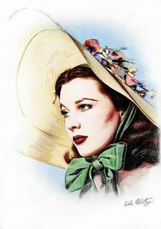 """A digitally colourized version of my pencil illustration of Vivien Leigh as Scarlett, from """"Gone With The Wind"""" . Scarlett O' Hara Old Hollywood Stars, Classic Hollywood, Drawings Pinterest, Tomorrow Is Another Day, Vivien Leigh, Fashion Wall Art, Movie Poster Art, Gone With The Wind, Beautiful Drawings"""