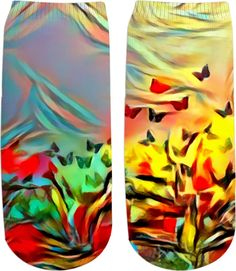 Colorful butterflies at meadow, nature themed ankle socks, red, yellow, green, colors - for more art and design be sure to visit www.casemiroarts.com, item printed by RageOn at www.rageon.com/a/users/casemiroarts - also available at www.casemiroarts.com - This product is   hand made and made on-demand. Expect delivery (aproximate time frames) to US in 11-23 business days (international 14-33 business days). #socks #clothing #style #accessories #sale   #onsale