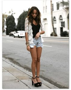 Lace - black - blue jean