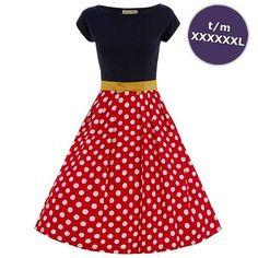 Vrolijke Yvette vintage, 50's, rockabilly, retro jurk zwart/rood polkadot