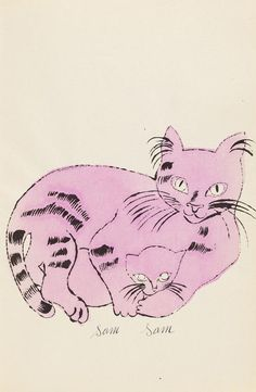 25 cats name[d] Sam and one blue pussy WARHOL Aus: 25 cats name[d] Sam and one blue pussy, 1954 by Andy Warhol (American 1928-1987). Offset lithograph