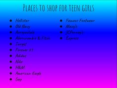 Places to shop for teen girls - Clothes - School Outfits Teen Shopping, Shopping Places, Shopping Websites, Shopping Stores, Online Shopping, Cute Clothing Stores, Best Online Clothing Stores, Clothing Websites, Teen Girl Outfits