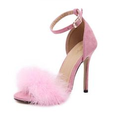 6bdcd16fc6 BAYUXSHUO Celebrity Brand Desiger Women Sandals Stiletto Feather Hairy  Buckle Strap High Heels Bridesmaid Bridal Wedding Pumps-in Women's Sandals  from Shoes ...