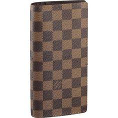 Men Louis Vuitton Damier Ebene Canvas Brazza Wallet Brown N60017