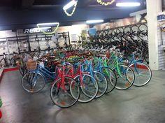 Reid Cycles - North Melbourne Victoria, Australien. Spacious shop floor