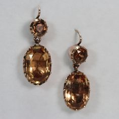 Fine Georgian Topaz Pendant Earrings Circa 1800
