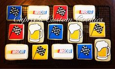 Custom Nascar, beer mug, and checkered flag cookies for a bachelor party. Decorated with royal icing.
