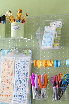 acrylic pegboard - my mom had just said if she was making a craft room she'd line the walls with peg board. I thought ew, but this would work. Craft Room Storage, Wall Storage, Craft Organization, Pegboard Storage, Plastic Pegboard, Craft Rooms, Sticker Storage, Kitchen Pegboard, Organizing Crafts