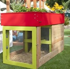 chicken or bunny house with garden roof