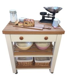 Solid Wood Butchers Block Kitchen Trolley Island Unit