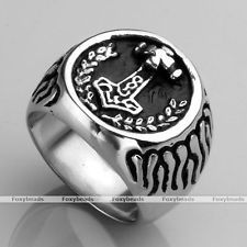 Men Stainless Steel Carved Norse Thunder Viking Thor's Hammer Finger Ring us9-13