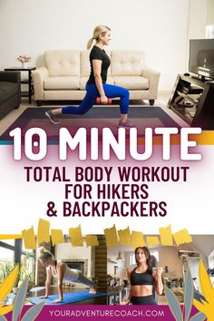 If you sit at a desk all day but still want to stay in shape for hiking, squeeze in this 10 minute total body, at home workout for hikers and backpackers! Even these short micro workouts, when done consistently really can make a difference in your fitness or if you're up for more of a challenge, you can adjust this to be more difficult or do multiple rounds of this 10 minute workout for hikers. Backpacking Tips, Hiking Tips, Hiking Gear, Senior Fitness, Fitness Tips, Fitness Fun, Fitness Goals, Hiking With Kids, Camping And Hiking