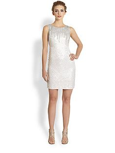 Theia Paillette-Embellished Silk Dress
