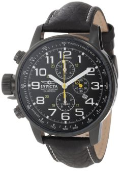 "Invicta Men's 3332 ""Force"" Collection Stainless Steel and Leather Lefty Watch: Watches: Amazon.com"