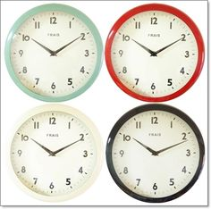 FRAIS掛け時計ブリキ製ミントレッドアイボリーブラックティンウォールクロック【楽天市場】 Tin wall clock