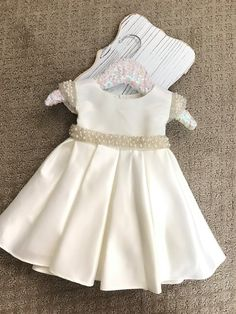 Vintage Flower Girl Dress White or Ivory Satin flower girl