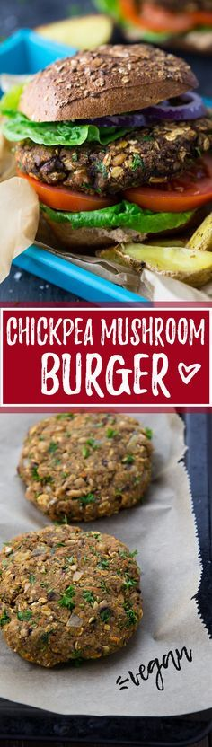 This vegan mushroom burger is made with chickpeas, oats, and chopped mushrooms. It's super delicious, incredibly healthy, and easy to make! Vegan burgers at its best!