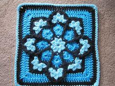 Crochet Knitting Handicraft: Stained glass crochet flower Afghan Square