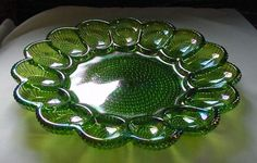 Beautiful Vintage Carnival Glass Deviled Egg Plate Platter Iridescent Green Purp #Indiana