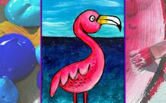 """Easy Peasy Art School: NEW LESSON! We've just added our colourful new lesson """"Flamingo."""" Imagine how colourful and vibrant your classroom could be with a room full of flamingos! Loads of fun and made super easy with our step by step instructions."""
