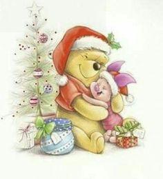 Christmas - Disney - Winnie-the-Pooh & Piglet Winnie The Pooh Christmas, Cute Winnie The Pooh, Winnie The Pooh Quotes, Winnie The Pooh Friends, Disney Christmas, Christmas Art, Illustration Noel, Christmas Illustration, Eeyore