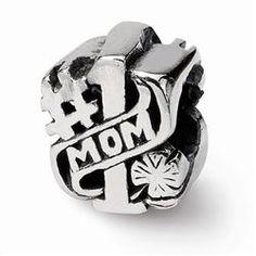 #1 Mom Sterling Silver Bead