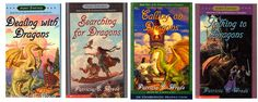 Dealing with Dragons(1), Searching for Dragons(2), Calling for Dragons(3), and Talking to Dragons(4). The Enchanted Forest chronicles by Patricia C. Wrede.