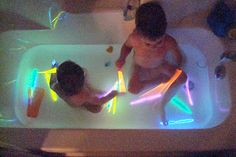 Fun and cheap activity--glow stick bath.  My 2 year old loves this!  They are usually just $1 for a tube of about 20 at Michael's or Target.